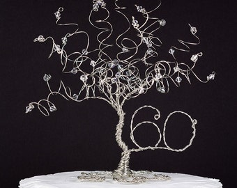 Traditional Anniversary Cake Topper Tree Wire Sculpture for Any Anniversary Year