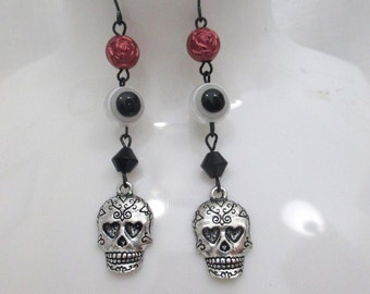 Gothic Day of the Dead Skull Long Beaded Dangle Earrings OOAK with Rose and Evil Eye Beads