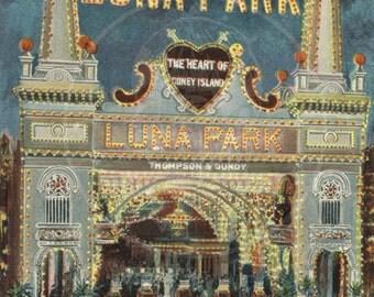 Luna Park, Coney Island  - 10x15 Giclée Canvas Print of Vintage Postcard