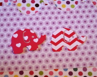 25 Large MOD ELEPHANT paper punch,  2 inch wide x 1.5  pink with white hearts double sided white with pink chevron confetti, scrap booking.