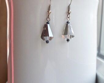 Crystal Earrings Smokey Grey Gray Crystal Earrings in Sterling Silver