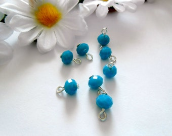 Turquoise Opaque Faceted Rondelle Dangle Beads