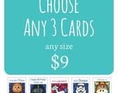 3 Greeting Cards - Funny Star Wars Card - Cute Card For Him - Thinking of You - Greeting Card - Pun Card - Sci-fi Movie Card - Baby Shower