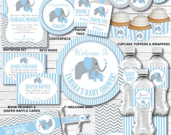 Elephant Baby Shower Decorations, Baby Boy Shower, Personalized, Printable  PDF Files