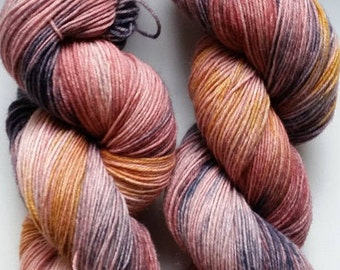 Crystal Rose: hand dyed variegated Merino sock yarn by Star Fiber Studio