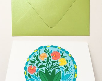 Floral Hex Sign- Blank Greeting Card