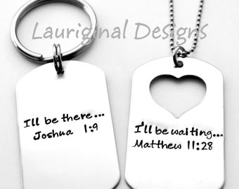 His and Hers dog tag necklace - Solid Dog Tag or Heart Cut out - Deployment Necklace - Dog Tag Key chain - Any wording that fits!