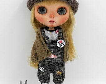 Girlish - Grey Overall Set for Blythe doll - dress / outfit
