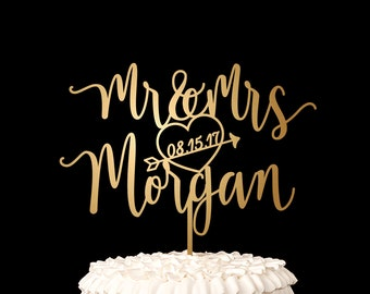 Custom Last Name Wedding Cake Topper - Blissful Collection