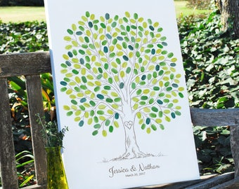 Thumbprint Wedding Tree Guestbook Alternative, Unique Wedding Signature Tree, 50-300 Guests, Gallery Wrapped Canvas