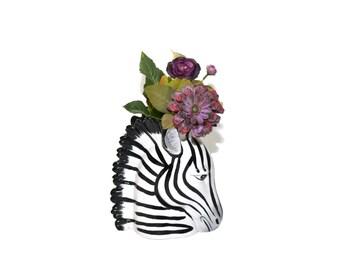 Vintage Zebra Vase Zebra Head Vase Fitz and Floyd Zebra Vase Zebra Head Zebra Figurine Jungalow Decor Boho Decor