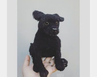 Black dog, needle felted, felt labrador puppy, black lab pup, cute dogs, realistic animals, doglovers gift,