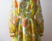 60s Long Sleeve Floral Illusion Dress Size Large