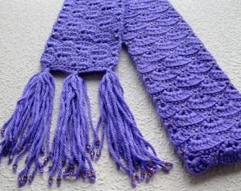 Purple Beaded Scarf.  Fan stitch crochet scarf with triangle beads.
