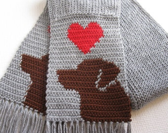 Chocolate Labrador Retriever Scarf.  Grey, crochet scarf with red hearts and brown labs. Knitted dog scarf