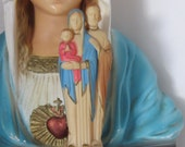 "Vintage Italian 1950""s HOLY FAMILY Plastic Statue -  A beautiful piece for your collection"