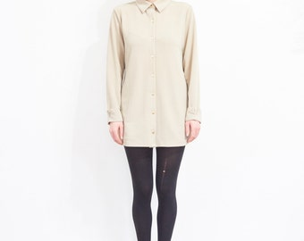 90s Minimal Beige Long Sleeve Button Up Tunic