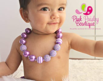 Baby Girl Chunky Necklace, Lavender Bubble Gum Necklace, Big Beads Bubblegum Necklace, Photo Prop Necklace Rainbow Birthday party Cake smash