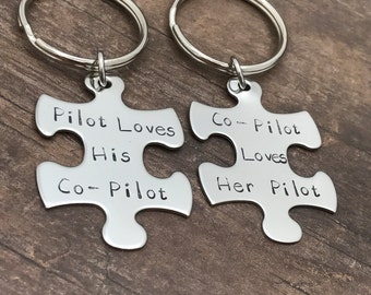 Pilot Co-Pilot Keychains, Couples keychains, Puzzle Keychains, Military Gift, Air Force Gift, Navy Gift, Military Keychain