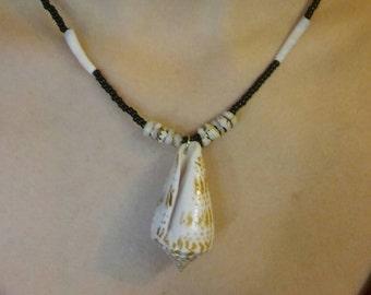 Native American Style Beaded Black and White Dentalium Shell Necklace Nautical Southwestern Gypsy, Boho  Great Gift  Ready to Ship