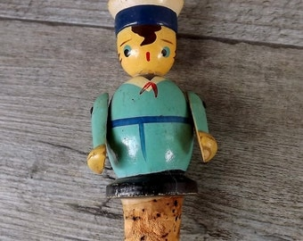 Vintage wooden bottle stopper, little Navy cadet with moveable arms