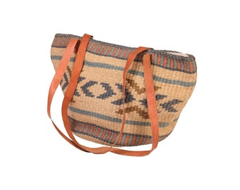 Raffia Bag with Leather Straps