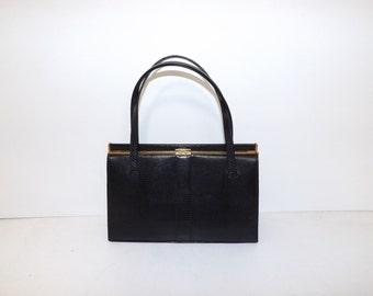 Vintage Mappin and Webb black real lizard skin leather grab handbag bag pigskin lined