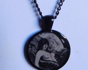 1 inch resin pendant necklace victorian; renaissance lady; macabre art; goth; gothic necklace; alternative; unusual