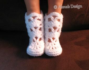 """Crochet Pattern 181 Elegant Boots for 18"""" Doll Crochet Boot Pattern Crochet Patterns White Boots for American Doll My Life As Gift for Girl"""