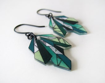 GEOMETRIC dangle earrings // blue and green drop earrings, jewelry, colorful jewellery