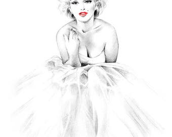 Marilyn Monroe Ballerina Black and White Drawing Print