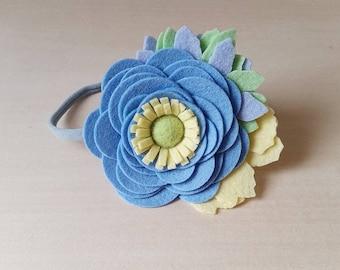 Felt Flower Headband,M2M Matilda Jane,Felt Rose Headband or Hair Clip,Blue Yellow Gray,Riding Bikes Pearl,Newborn Baby Toddler Girl Headband