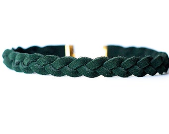 Braided Leather Choker / Necklace / Forest Green Suede