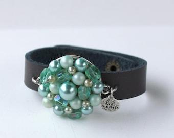 Green Bracelet, Pantone Island Paradise, Snap Bracelet, Leather Cuff, Cuff Bracelet, Vintage Bracelet, Recycled Bracelet, Upcycled, Blue