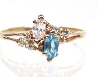 Vintage Marquise Cut Aquamarine,Topaz and Diamond Ring 14K Yellow Gold