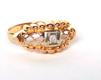 14K Gold Swiss Cut Diamond Ring Band, Two Tone Gold, Vintage, Wedding, Anniversary