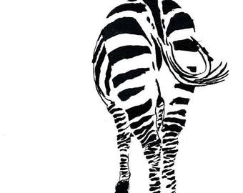 Zebra Butt - Ink Sketch, Ink Drawing, Pen and Ink, Black and White, Fine Art Print, Giclee, Original Art, African, Stripes, Animal Print