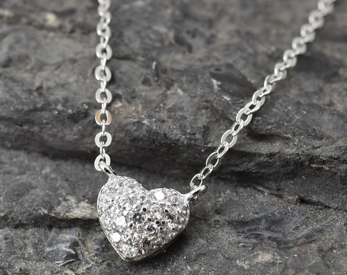 Heart Necklace, Heart Pendant, Heart Jewelry, 925 Sterling Silver, Crystal Necklace Pendant, Bridesmaid Gift, Bridesmaid Necklace