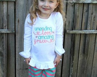 Amazing Grace Shirt, Religious Shirts, Shirts with Sayings, T Shirts with Sayings, Easter Shirts for Girls, Embroidered Shirt
