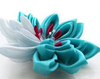 Waterlily Kanzashi Flower Hairclip in Aqua and White Silk - Extra Large