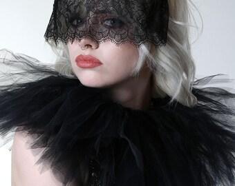Black Eyelash Lace Mask