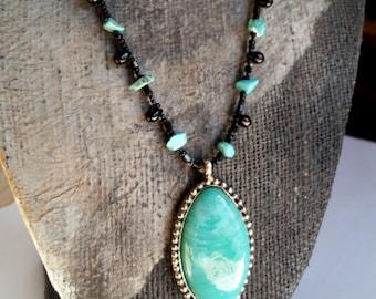 Southwestern Turquoise Bead Necklace, Black Beaded Turquoise Pendant
