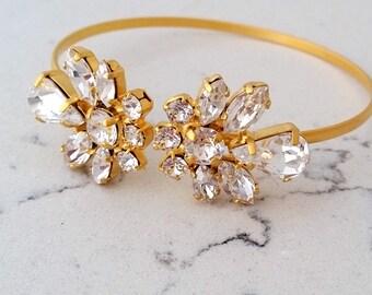 Bridal Wedding Bracelet,Swarovski Crystal Bracelet,Bridal Crystal Cuff,Bridesmaids Jewelry,Cuff Bracelet,Open cuff Bracelet,Adjustable Brace