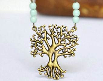 Tree Necklace, Tree With Roots, Forest Tree Necklace, Woodland Tree, Tree Branch Necklace, Tree Of Life Necklace, Tree Pendant, Mint Beads