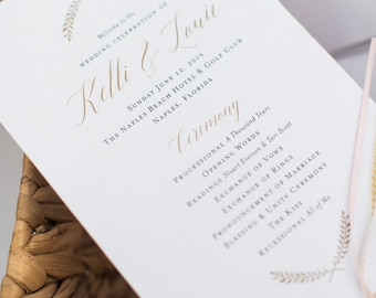 Gold Fan Wedding Program Printable / printable, gold, shimmer, customizable, simple, rustic, garden, calligraphy, laurel, vine, DIY