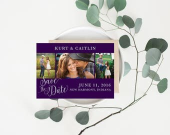 Save The Date Printable, DIY Save The Date Card, Calligraphy Style, Script, Elegant, Customizable Colors, Purple and Silver, Wedding Suite
