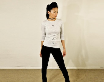 Vegan Top :  Heather light grey crew-neck long sleeve top