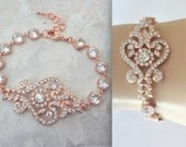 Rose gold bracelet, Rose gold cubic zirconia bracelet, Brides bracelet, Rose gold wedding bracelet,  Rose gold wedding jewelry, MIA