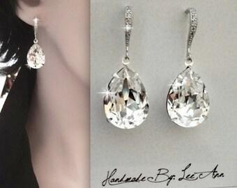 Swarovski crystal earrings - Teardrops ~ Wedding earrings ~ Sterling silver wires ~ Brides earrings,Bridal jewelry,Crystal earrings,SOPHIA