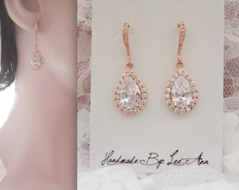 Rose gold earrings, AAA Cubic zirconias, Rose gold over sterling ear wires, Rose gold teardrop earrings, Rose gold bridal earrings, MIA
